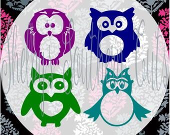 Monogram Owls SVG DXF EPS digital files