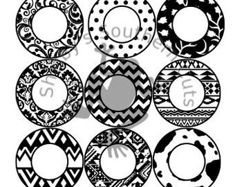 Set of 9 Monogram Frame SVG files