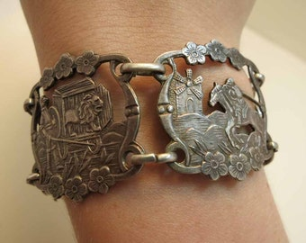 antique hand wrought silver bracelet from spain