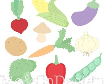 Vegetable Clipart, Clip art for scrapbooking, party invitations, Instant Download, Personal and Commercial Use Clipart, Digital Clip Art