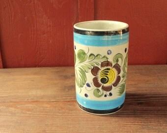 vintage Mexican vase // vintage Mexican pottery // hand painted vintage vase // floral Mexican vase // vintage pot // stoneware pottery