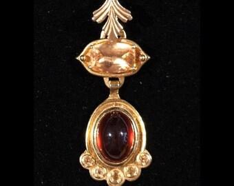 Fancy Custom Made Garnet & Citrine Pendant