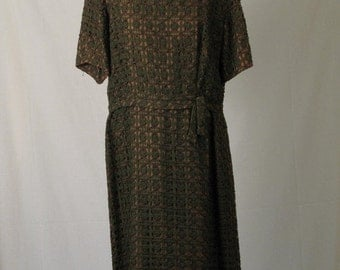 On Sale Early 60's Green Lace Over Tan Foundation Day Dress