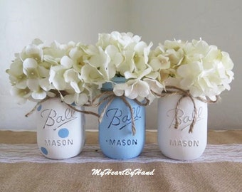 Rustic Home Decor, Blue Polka Dot Mason Jar Centerpieces, Baby Shower Mason Jars, Mason Jar Decor, Jar Vases, Baby Boy Shower Decorations