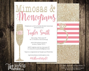 Mimosas and Monograms Bridal Shower Invitation - Printable File