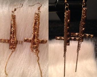 Upside down cross earrings