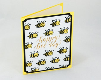 Happy Bee Day Birthday Card, Handmade Stampin Up Greeting Card