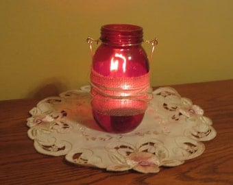 Red Mason Jar Lanterns (Set of 2)
