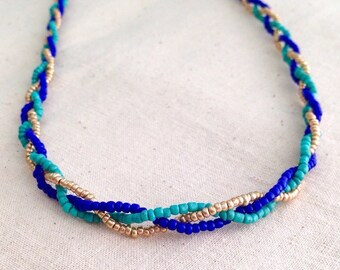 Blue Braided Necklace, Gold Braided Necklace, Turquoise Braided Necklace, Hand Beaded Necklace, Beaded Braid Necklace, Turquoise Gold Blue