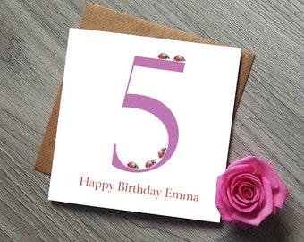 5th Birthday Card - 5th birthday Girl - 5th Birthday Gift - Girl Birthday - Girl Birthday Card - Girl Birthday Gift - Ladybird Card