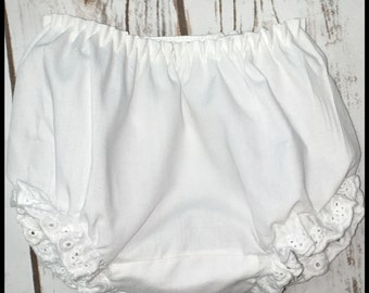 Blank baby bloomers with eyelet ruffles around the leg,  monogram blank,diaper cover