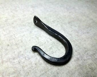 1 Hook, forged Iron, wall peg, iron hook, coat hook, coat rack, key rack, forged wall hook, wardrobe hook,