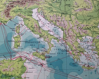1920 Meditarranean & Black Sea Map - showing cables and wireless stations - extra large original vintage map - 14.5 x 20.5 inches