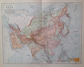 1871 Asia Physical map, original antique map, colour, historical, vintage