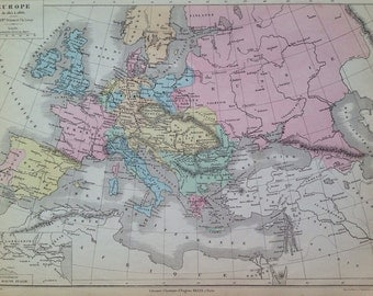 1866 EUROPE from 1815-1866  original antique colour map - Cartography - Historical Map - 13 x 10 inches