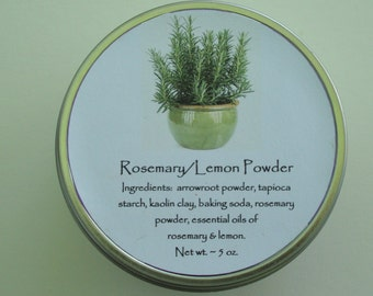 Rosemary/Lemon Powder, Body Powder, Powder, Talc Free Powder, Rosemary Powder, Lemon Powder, Skincare, Dusting Powder