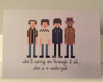 Stone Roses blank greeting card.