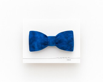 Marble deep blue bow tie, navy blue linen bow tie for men, blue wedding bow tie, self tie bow tie, double sided