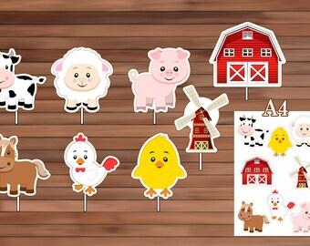 Farm Animals Centerpiece, Instant Download, PDF
