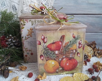 Christmas gift, Candy box, Kitchen Storage, Wooden Christmas Box, Vintage style, Food storage, Сontainer with lid, Kitchen box