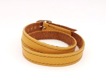 Double wrap leather bracelet, Yellow double wrap leather bracelet, Upcycled yellow wrapped leather cuff