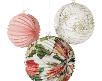 Floral Blossom & Brogues Accordian Hanging Lanterns