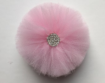 Flower hair bow, baby hair bows, flower clip, tulle flower clip, bling flower clip, pink flower clip, tulle hair bow, pink bow