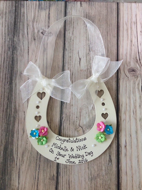 Personalised Wedding Horseshoe Gift : Personalised Wedding Horseshoe keepsake gift to bride and