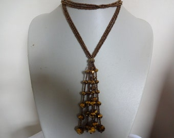 Vintage Gold Crystal Tassel Necklace