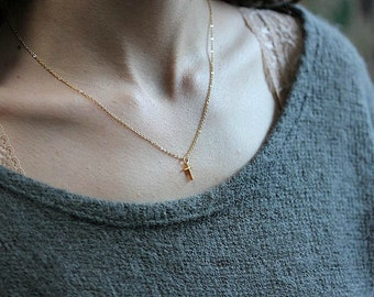 Gold Cross necklace- Gold filled cross necklace - Gold Vermeil  Cross - Minimalist Jewelry - Delicate necklace - Cross Necklace