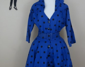 Vintage 1980's Blue Polka Dot Dress / 80s Does 50s Full Skirt Dress L  tr