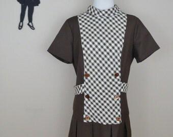 Vintage 1960's Brown Gingham Dress / 60s Mod Scooter Dress XL/XXL