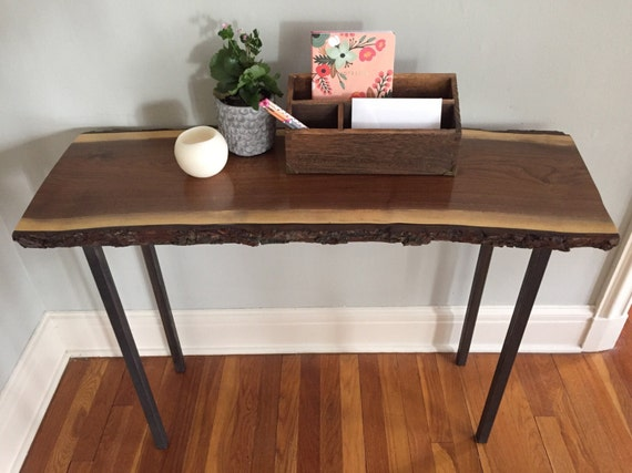 live edge slab tables console