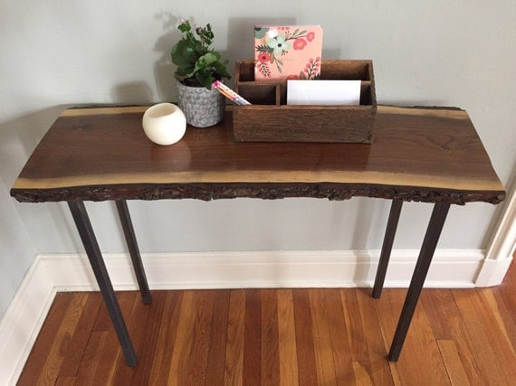 Live Edge Foyer Table : Rustic industrial live edge sofa table entryway
