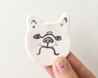 Ceramic dog brooch / pin