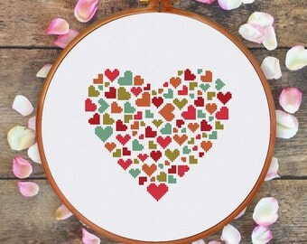 Heart of Hearts cross stitch pattern, cute heart cross stitch pattern, love cross stitch pattern, handmade gift for lover,valentine day gift
