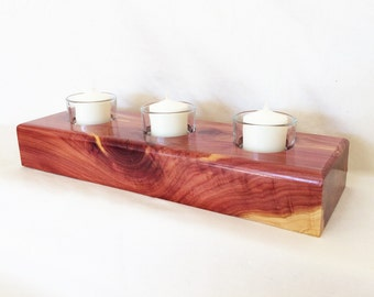 Aeromatic Cedar Candle Holder - Cedar - Gift for Her - Christmas Gift - Table Centerpiece - Wood Gift - 5 Year Anniversary - Harvest Wedding