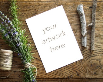 Mockup for Greeting Card  | Note Card w/Rosemary| Styled Stock Photography | Instant Download - Digital
