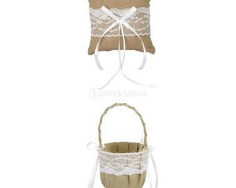 Flower girl Basket and Ring Bearer Pillow Set. Burlap. lace. Rustic.