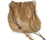 Vintage Brio Slouchy Boho Flat Leather Shoulder Bag
