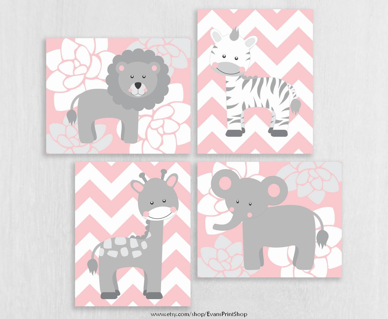 canvas pink gray nursery decor baby girl elephant giraffe. Black Bedroom Furniture Sets. Home Design Ideas