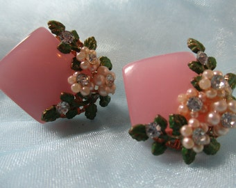 Pink Mother of Pearl style and Rhinestones Flowers Clip on Earrings