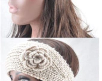 Crochet flower ear warmer