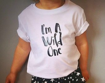 I'M A WILD ONE 100% cotton tshirt - wolf and bear -  hipster kids clothes - unisex kids clothes - toddler gift - baby shower gift - cool kid