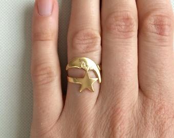 Mond und Stern Ring,vintage,gold,Kitsch