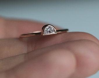Half Moon Diamond Ring, Rose Gold Diamond Ring, Unique Diamond Ring, Fancy Shape Diamond Ring, 14k Rose Gold