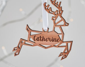 Geometric Reindeer Wooden Christmas Ornament. Scandi Nordic Personalised Christmas Tree Decoration|Caribou|Cedar wood scented aromatic