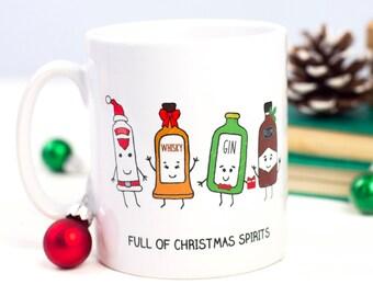 Christmas Spirits Mug, Christmas Mug, Funny Mug, Liquor gift, Holiday Gift, Stocking Filler, Christmas Gift, Xmas, Christmas Decor, Gin Gift