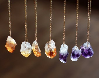 Raw Gemstone Necklace, Raw Stone, Raw Citrine Necklace, Raw Amethyst Necklace, Crystal Nugget, Boho Style, Rough Gemstone Jewelry