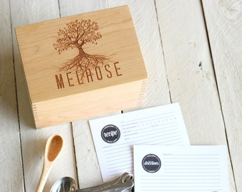 Heirloom Recipe Box and Cards - Wooden Custom Personalized Tree Design With Name Recipe Card Holder With Recipe Cards